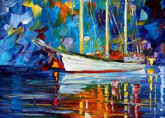 Night-view-boat-in-river-landscape-art-oil-painting-for-home-decor-wall-art